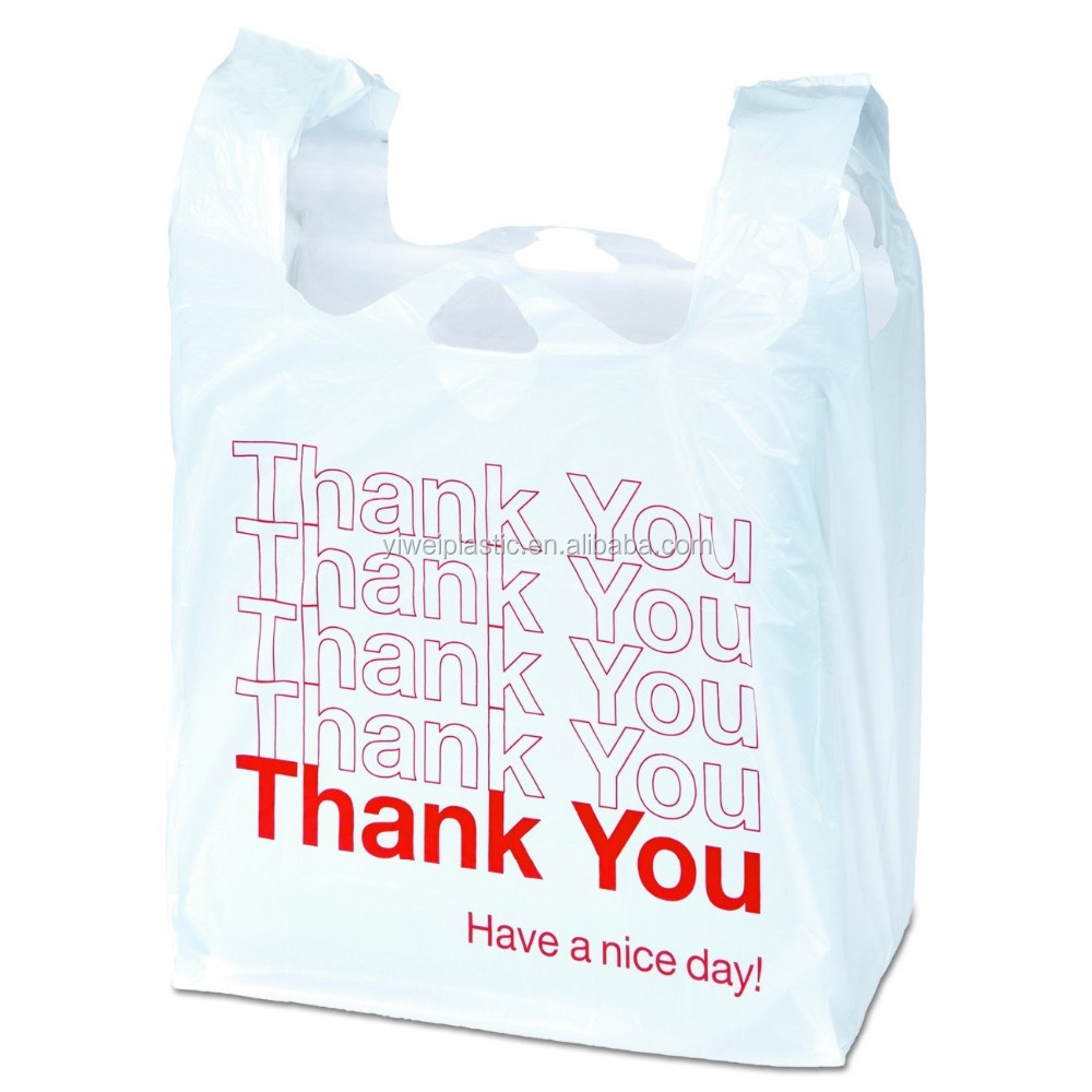 custom printing ldpe hdpe thank you t shirt plastic shopping poly bags