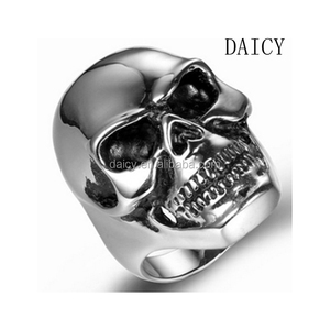 DAICY factory cheap wholesale mens hiphop silver stainless steel skull ring for custom