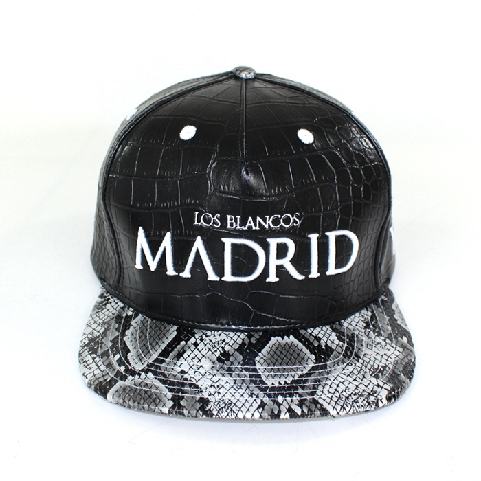 fashion leather cap/mens leather caps/leather snakeskin brim snapback cap