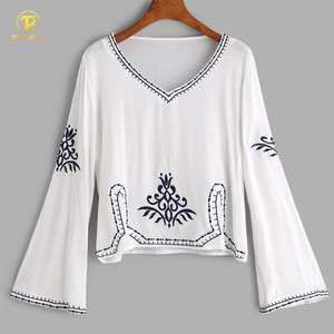 White Plain Bell Sleeve V Neck Tunic Embroidered Blouse