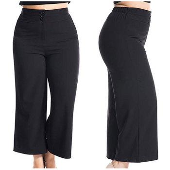 Perfect Design Plus Size Women Palazzo Pants Fashion Big Size Wide Leg  Trousers Pants With Botton Tap 1/2 Stretch Wait - Buy Fat Women Plus Size  ...