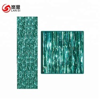 Foil Curtains Backdrop Fringe Tinsel Metallic Curtains Photo Backdrop for Wedding Birthday Party Stage Decor (Blue)
