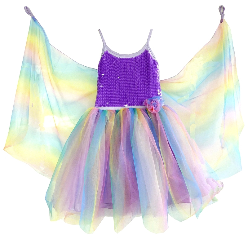Free shipping girls childrens rainbow sequined fairy princess tutu dress fairy tale dress