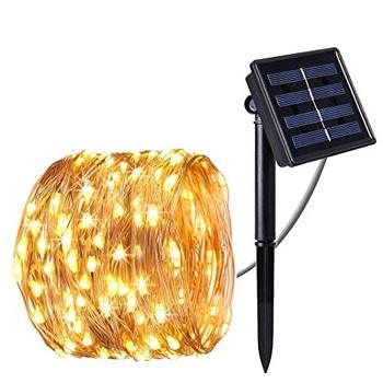 10M Outdoor Solar Powered Copper Wire LED String Light for Christmas Garden Holiday Decoration