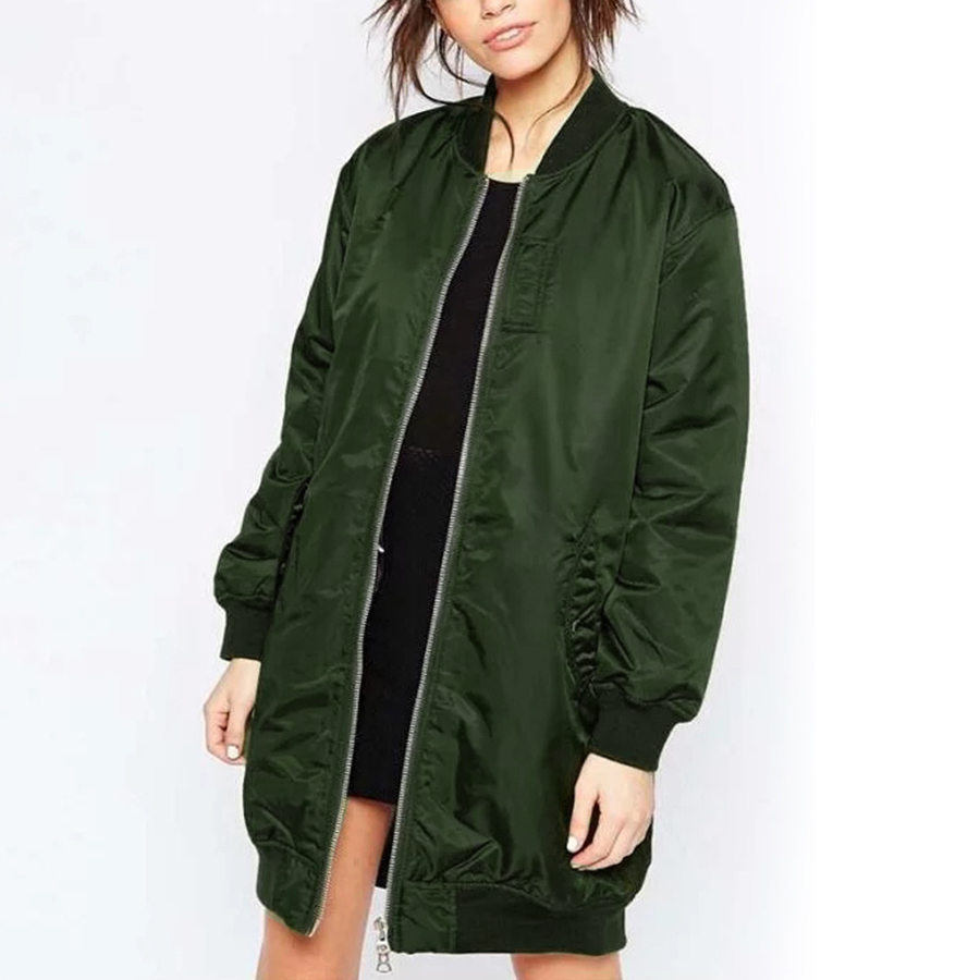 Fashion Autumn Winter Army Green Women Bomber Jackets 2016