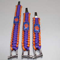 CLEMSON TIGER dog paw team logo metal buckle paracord bracelet