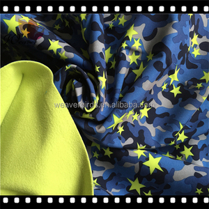 Customized new camo prints 100D stretch pongee fabric laminated with cheap polar fleece for boys jackets /100D shell fabric
