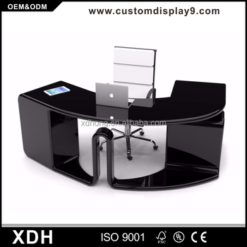 Modern Wood Working Table Halfround Curved Office Desk Buy Curved - Black round office table