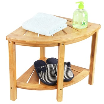 Bamboo Corner Shower Seat Bench With Storage Shelf