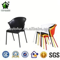 Colored Stackable Modern Acrylic Plastic fabric covered dining chairs