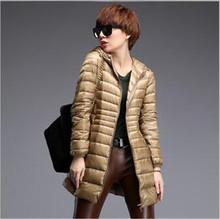 Latest font b Winter b font 2016 Women Fashion Ultra thin Medium long Coat Solid color