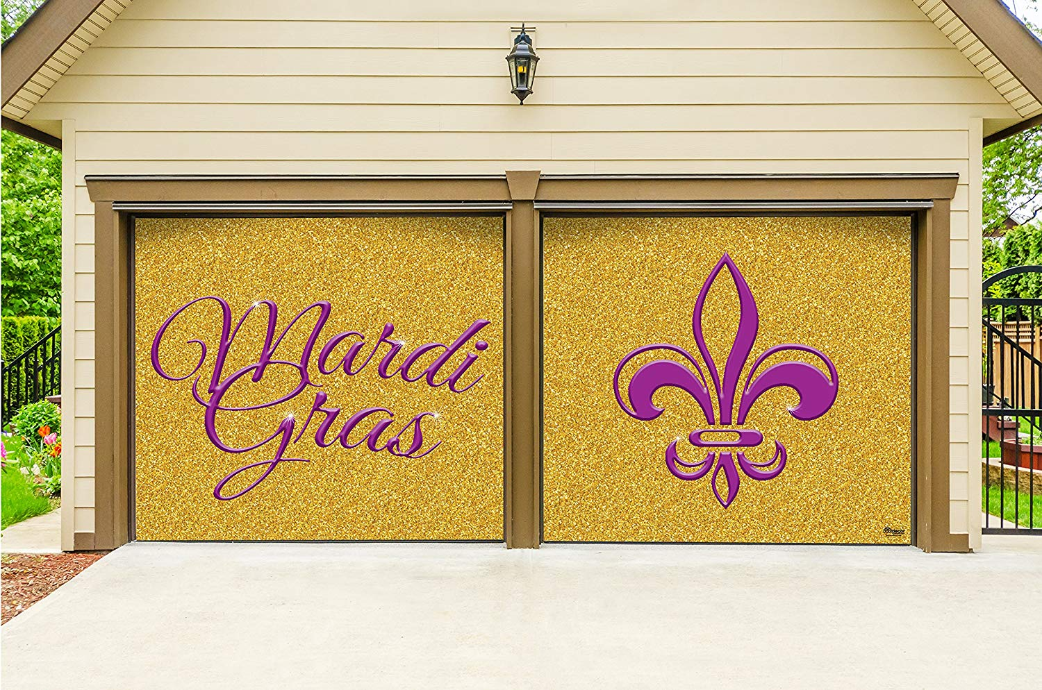 Victory Corps Outdoor Mardi Gras Decorations 2 Car Split Garage Door Banner Cover Mural - Mardi Gras Gold Glitter, Two 7'x 8' Graphic Kits - The Original Mardi Gras Supplies Garage Door Banner Decor