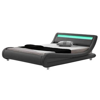 Modern Contemporary Wave Like Curve Upholstered Platform Bed Led Lights Genuine Leather Bed Frame For Bedroom Furniture Buy Leather Bed With Led Light Genuine Leather Bed Frame Led Tv Bed Product On Alibaba Com
