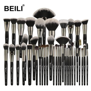 BEILI Luxe Black 40 Pieces make up brushes Natural pony goat hair Professional Synthetic hair big powdermakeup brush set stock