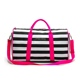fashion stripe soft overnight travel bag