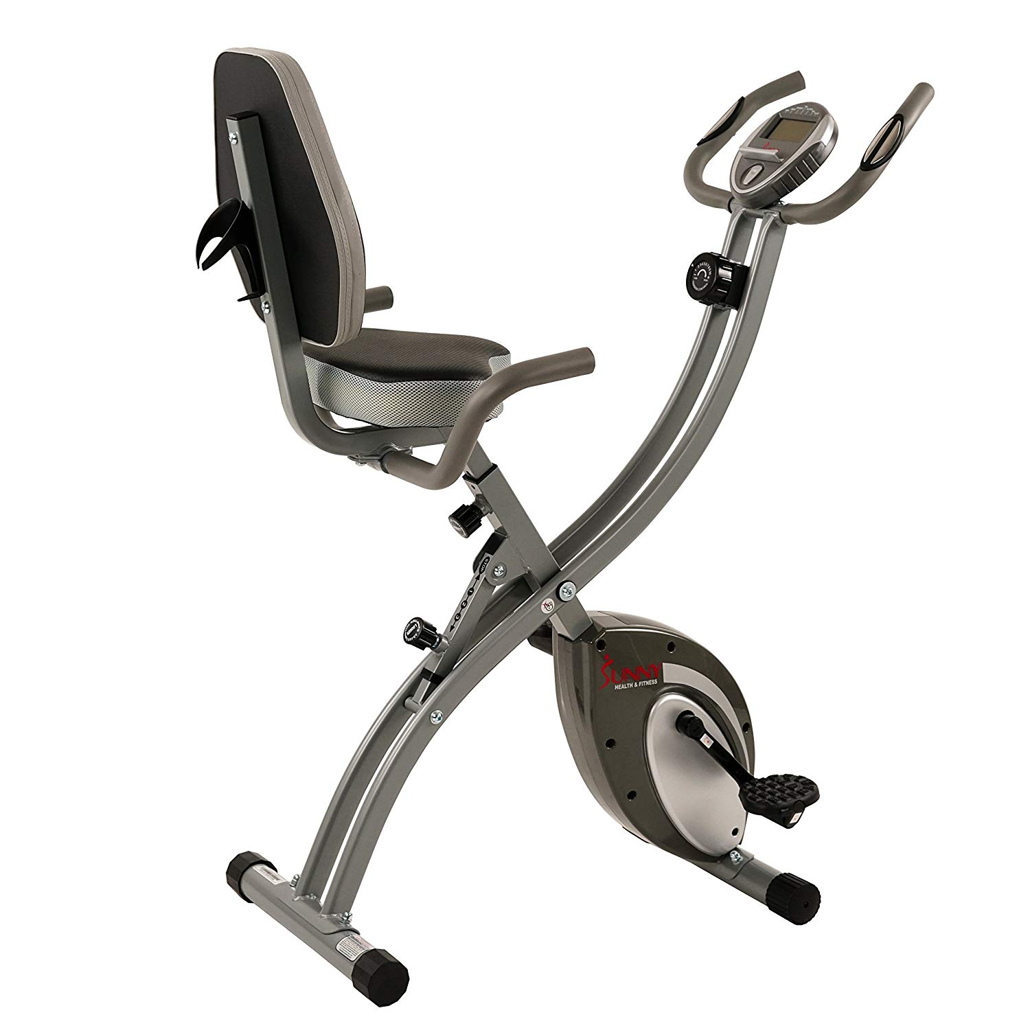 ef0ad18a207 Get Quotations · Sunny Health   Fitness Folding Exercise Bike Magnetic Semi  Recumbent Upright High Weight Capacity Pulse Monitoring