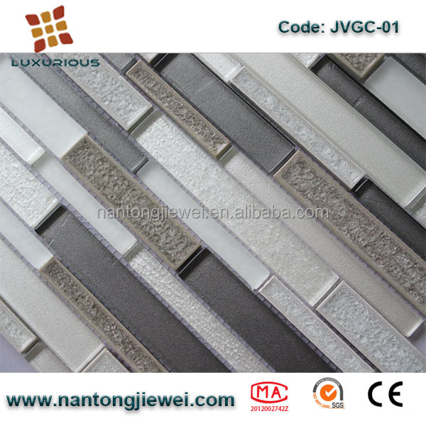 Alibaba Nantongjiewei Cracked Ice Interlock design ceramic mosaic glass tile for <strong>wall</strong> and floor