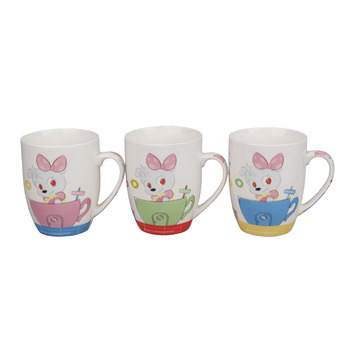 Multicolor 6 Oz Coffee Mug Cute Cartoon Plain Porcelain With Unique Handle