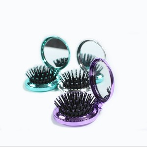 colorful plastic comb and mirror foldable brush pocket comb
