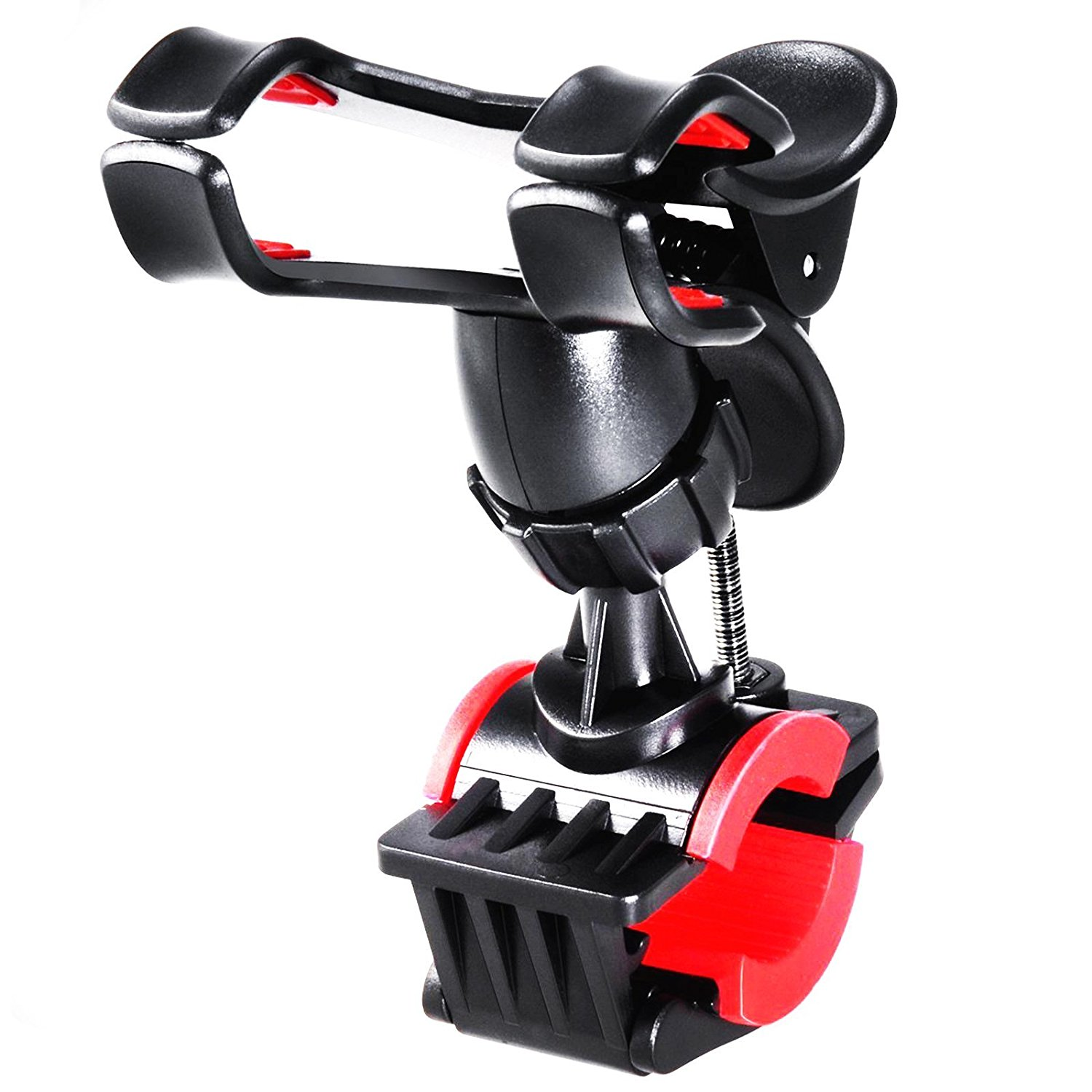 Rymemo Bike Mount Holder Universal 360 Degrees Rotating Motorcycle Bicycle Mtb Bike Clip-Grip Handlebar Mount Holder For iPhone 7/7 Plus, 6/6 Plus/5/5S/5C, Samsung Galaxy S6/S6 Edge/S5/S4, Red