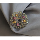 Wholesale Vintage Crystal Flower Wreath Broche Brooch pin Wedding Rhinestone Jewelry