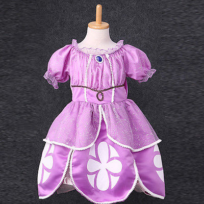 Bling Noble Baby Girls Kids Clothes Purple Sofia Costume Princess Party Fashion Beautiful font b Fancy