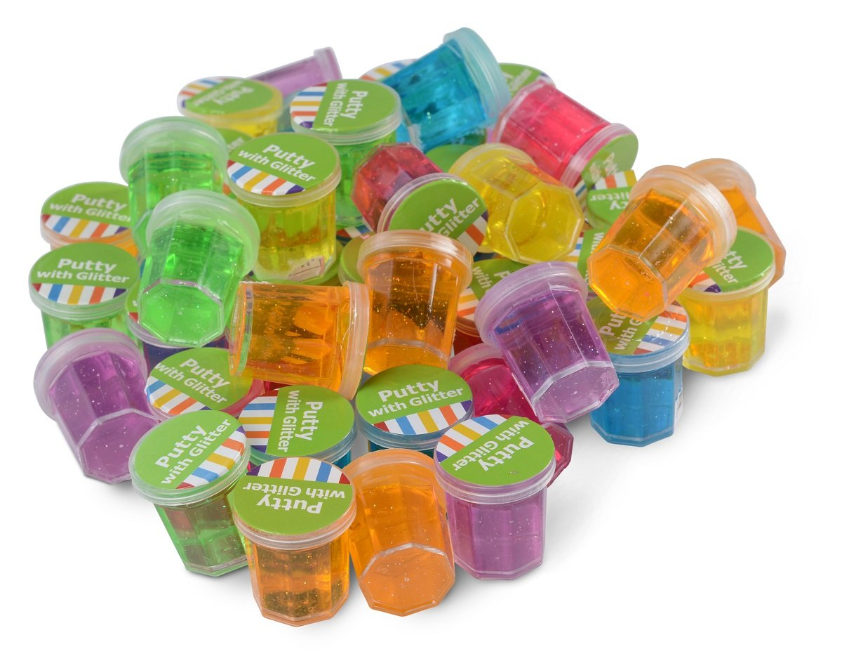 """Mini Putty With Glitter – Container 1 1/4"""" - 48 Pack Assorted Colors - For Kids Boys And Girls, Party Favor, Fun, Toy, Novelty, Gift, Prize – By Kidsco"""