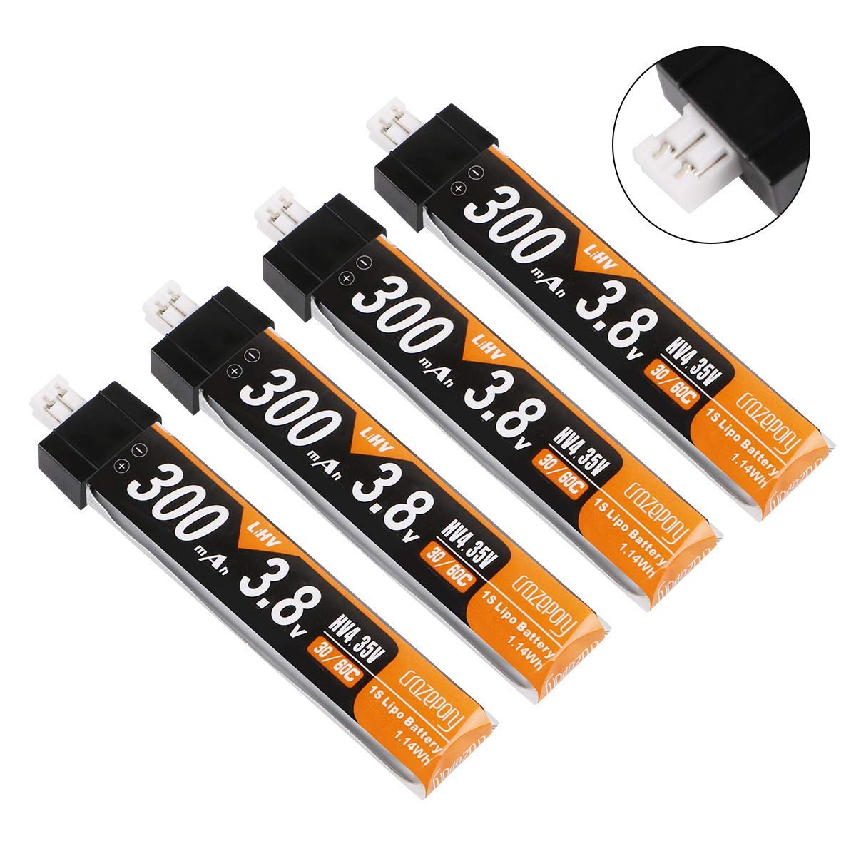 4pcs 300mAh HV 1S Lipo Battery 30C 3.8V for Tiny Whoop JST-PH 2.0 Powerwhoop Connector
