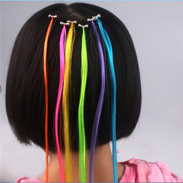Fashion Children Hair Extension Rhinestone Spring Clip Wigs Hair