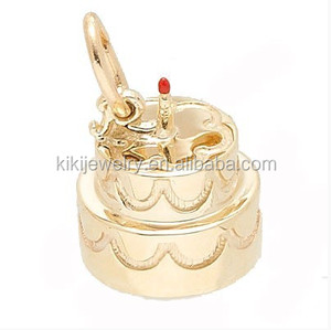 Wholesale alloy gold or silver 3 dimensional birthday cake charm