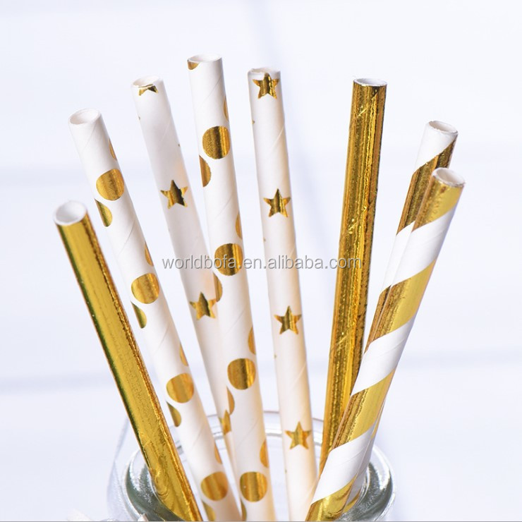 Custom Biodegradable Goid Foil Striped Paper Drinking Straw