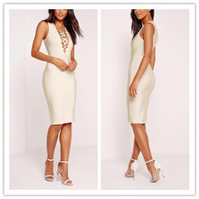 Wholesale hot sale sleeveles lace-up deep v neck wrap tunic Sexy party bodycon dress
