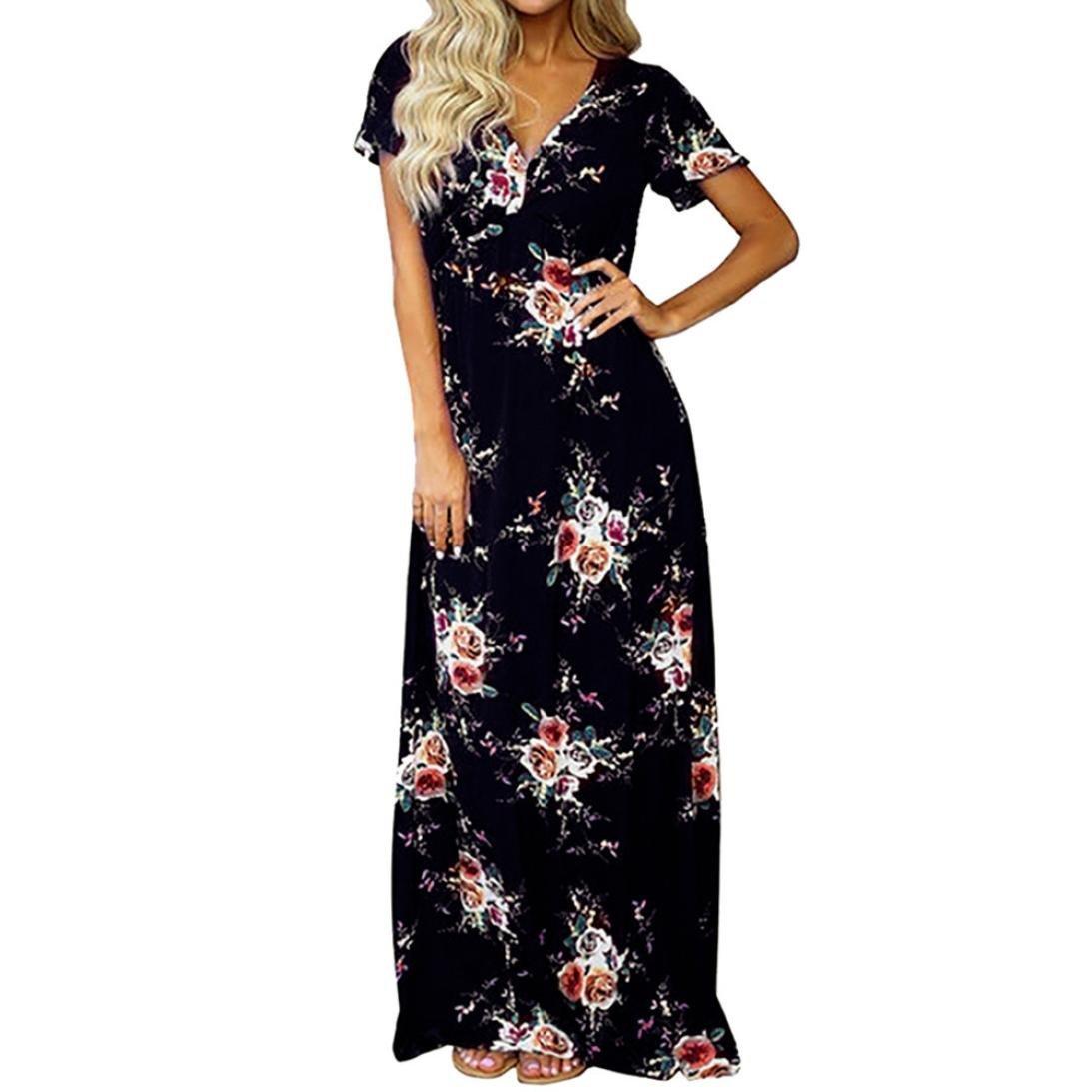 2355bbc7d3 Get Quotations · Women Long Maxi Floral Dress Beach Dress Summer Hawaii  Dress V-Neck Party Dress Hemlock