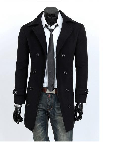 America Slim Double-breasted Lapel Woolen Trench Mens Windbreaker Male Long Coats Leisure Outwear Urban Fashion Clothing