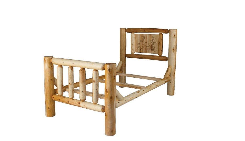 Rustic White Cedar Log Bed With Wood Burn Headboard (Deer-Buck)- Queen