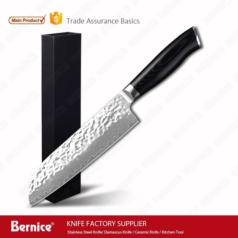 7 pulgadas Damasco Acero inoxidable cuchillo Santoku