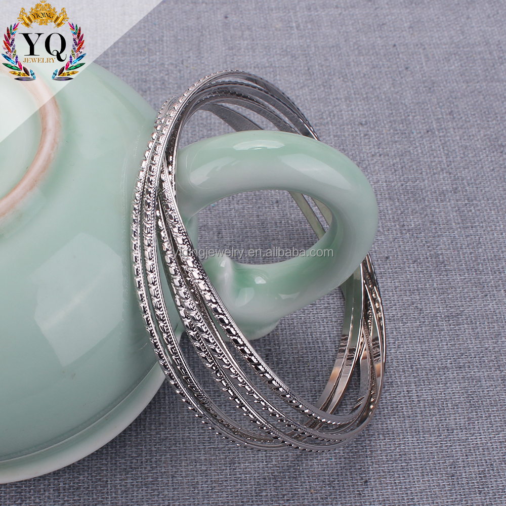 BYQ-00322 india six multi silver plated thin metal bangle set simple daily bangle
