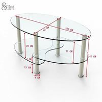 GLASS NEST OF 3 COFFEE TABLE SIDE