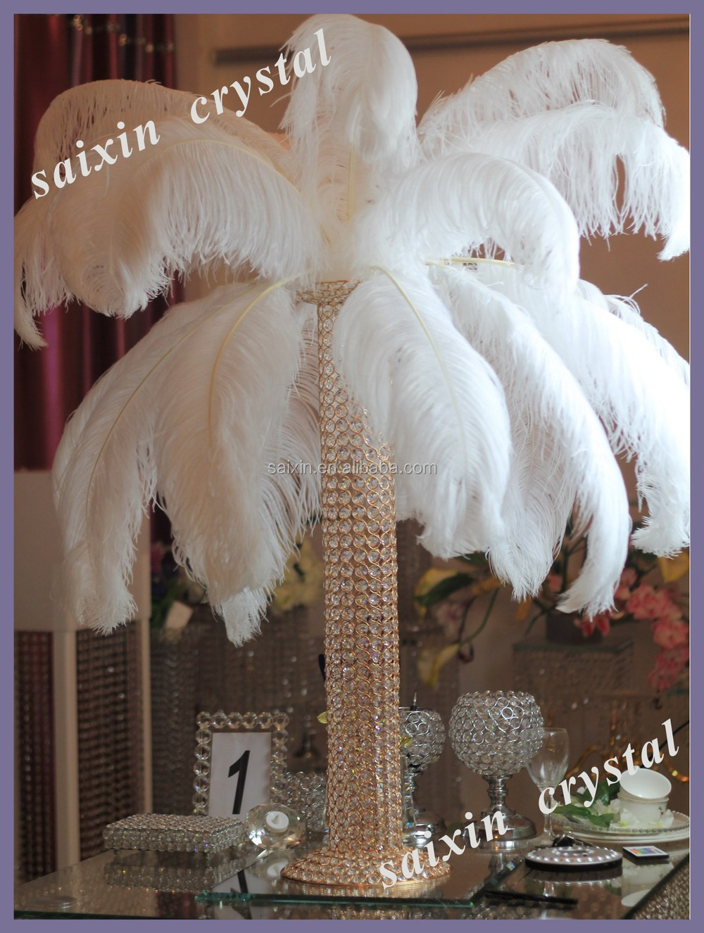 Beautiful white ostrich feather centerpieces wedding