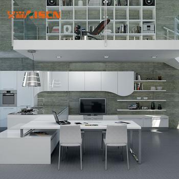 Öffnen L Förmigen Insel Und Tisch Weiß Lack Küchenschrank In Kleine Küche  Einheit