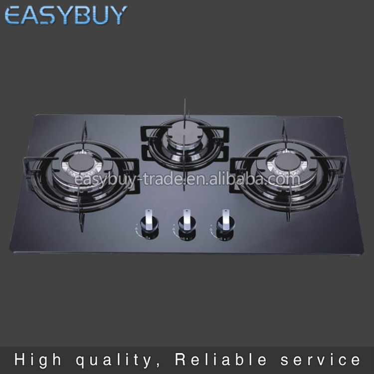 New design Restaurant Built-in With glass panel 3 burner gas stove top