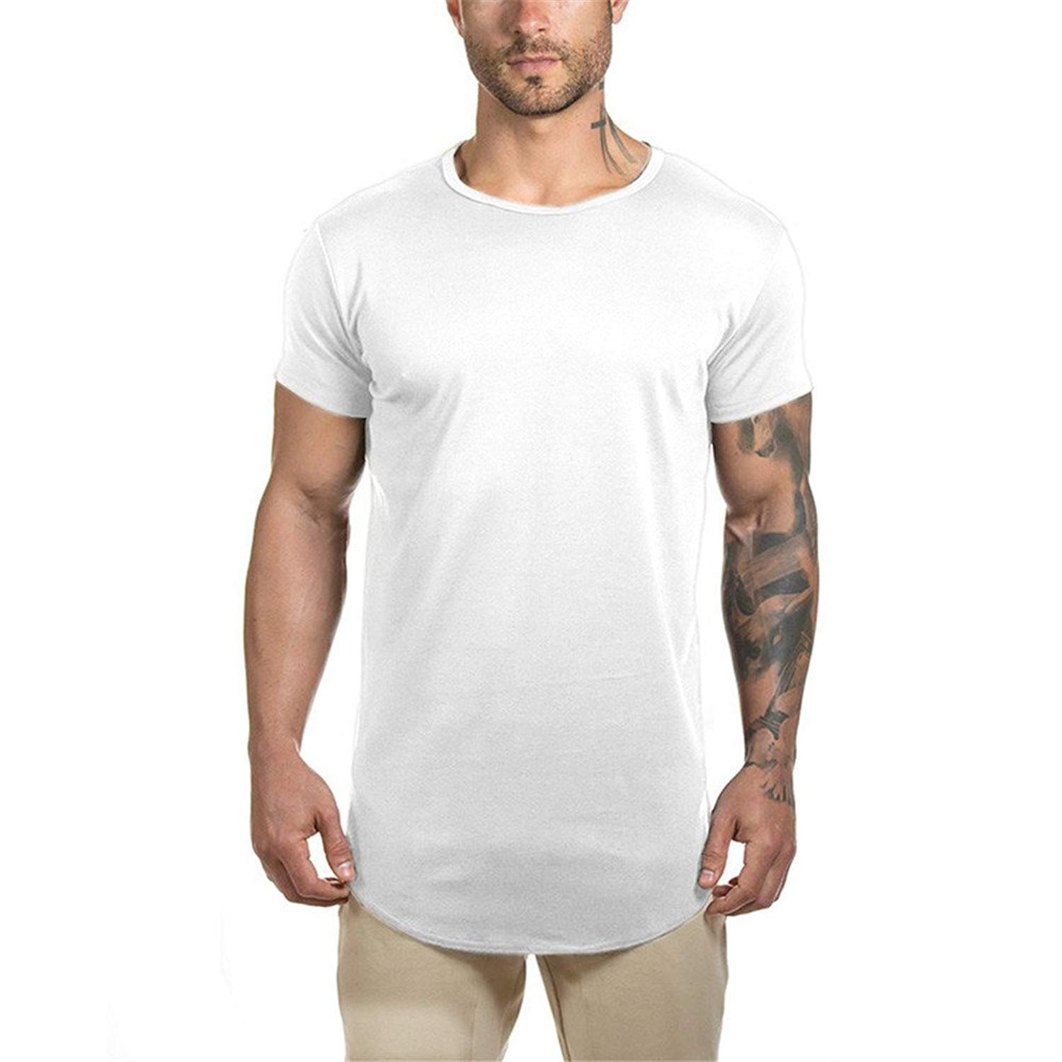 33ce9d2b Get Quotations · Athlemon Mens Longline Gym Muscle Bodybuilding Tshirts  Hipster Reflective Line Scallop Crewneck Tees Shirts Tops