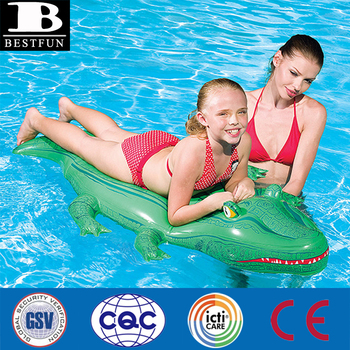 High Quality Giant Inflatable Crocodile Rider Durable Plastic Inflatable  Alligator Pool Float Folding Ride On Water