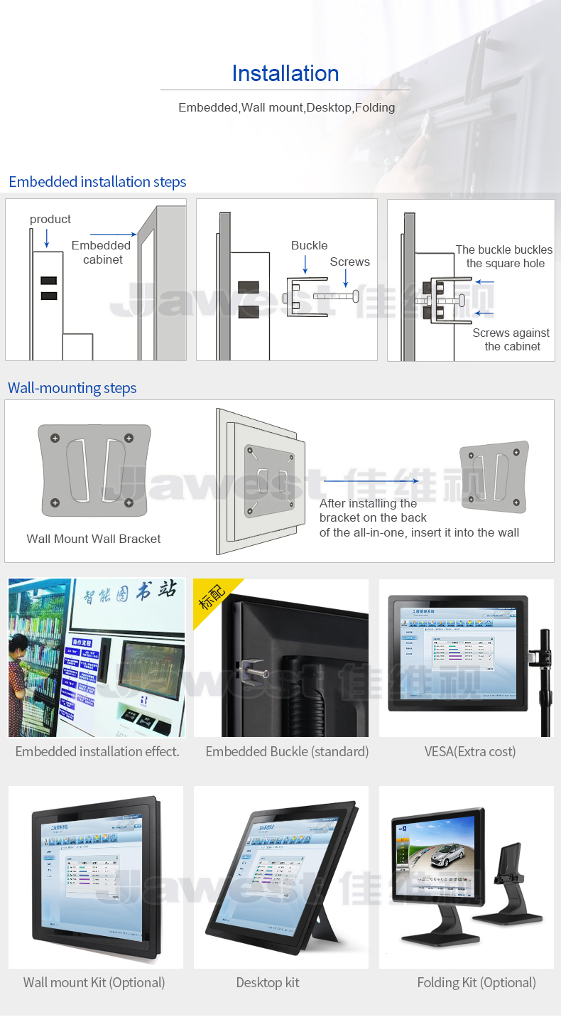 IP65 10.4 inch all in one faceless panel flat PC industrial 1024*768 on 4:3 LED tablet embedded kiosk touch screen
