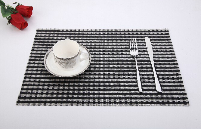 Black And White Stripe Table Placement Rectangular Dining Table Mat