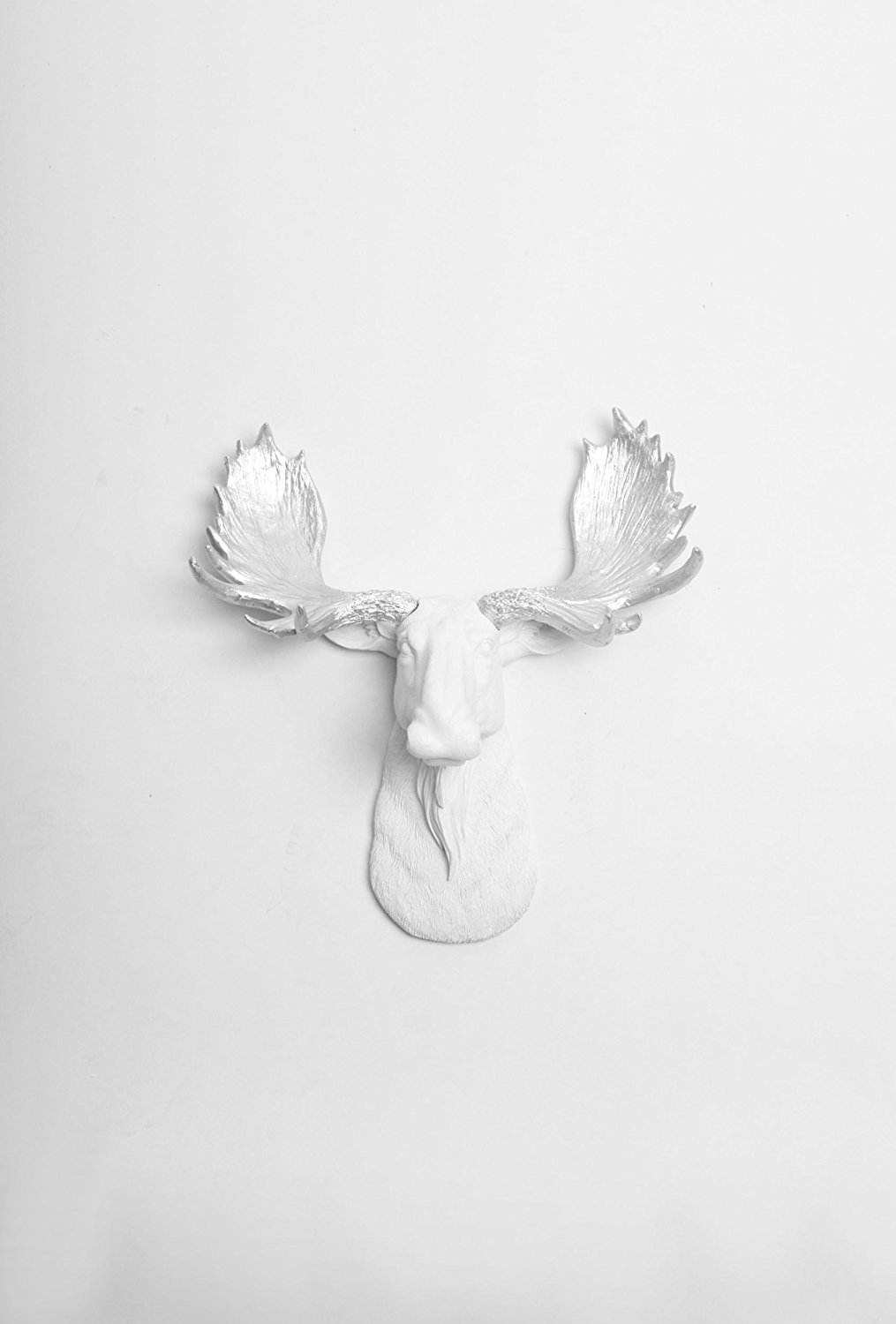 The Mini Adobe | Miniature White Resin Moose Head with Silver Antlers | White Moose Head Wall Decor | Moose Head Wall Mount by White Faux Taxidermy | Animal Head Wall Sculpture