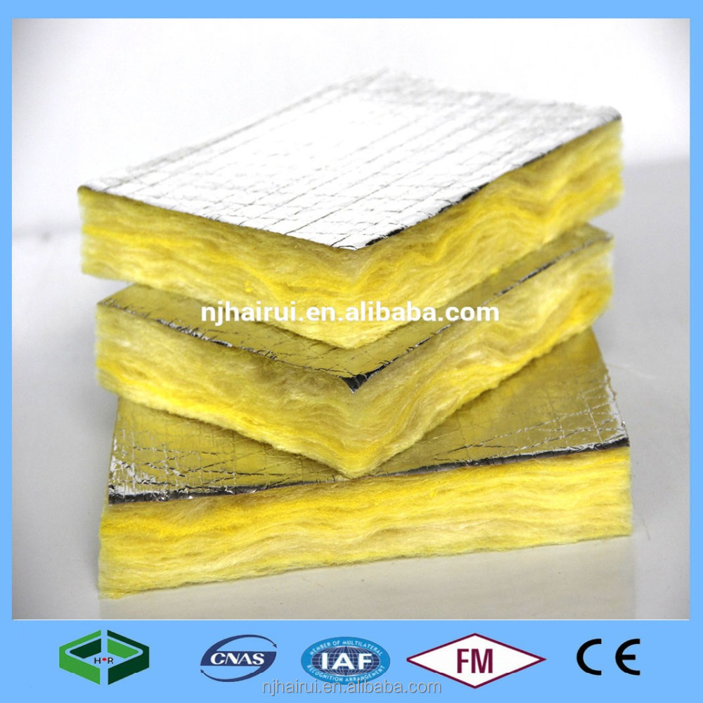 Glass wool board for wall and soundproof insualtion with fireproof foil with cheap prices