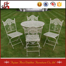 SHABBY CHIC ANTIQUE CREAM GARDEN FURNITURE WROUGHT IRON PATIO BISTRO SET