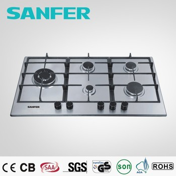 White Stainless Steel 5 Burner Gas Stove Top And Desktop Gas Stove