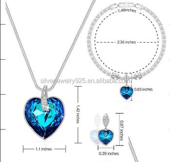 Blue Sapphire Necklace Tennis Bracelet Earrings Jewelry Set Crystals  Fashion Custom Jewelry - Buy Dark Blue Crystal Necklace Jewelry,Fake Custom